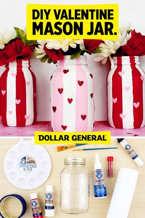 Diy Valentine's Mason Jar, Mason Jar Crafts, Bottle Crafts, Diy Valentine's Day Decorations, Valentines Day Decorations, Easy Valentine Crafts, Holiday Crafts, Diy Arts And Crafts, Diy Crafts