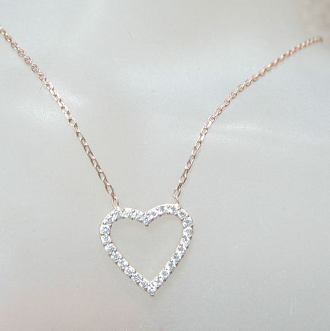 """Sparkling Crystal Heart Rose Gold Chain 18""""-20"""" Necklace Feminine Delicate  #Unbranded #Charm"""