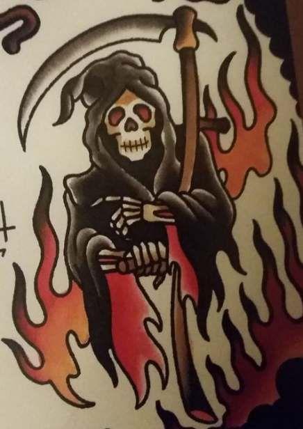 American Traditional Grim Reaper : american, traditional, reaper, Tattoo, Traditional, Flash, Reaper, Ideas, Tattoo,, American