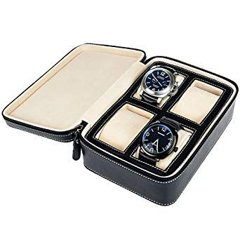 Monkig Leather Travel Watch Case With Gift Pack Storage