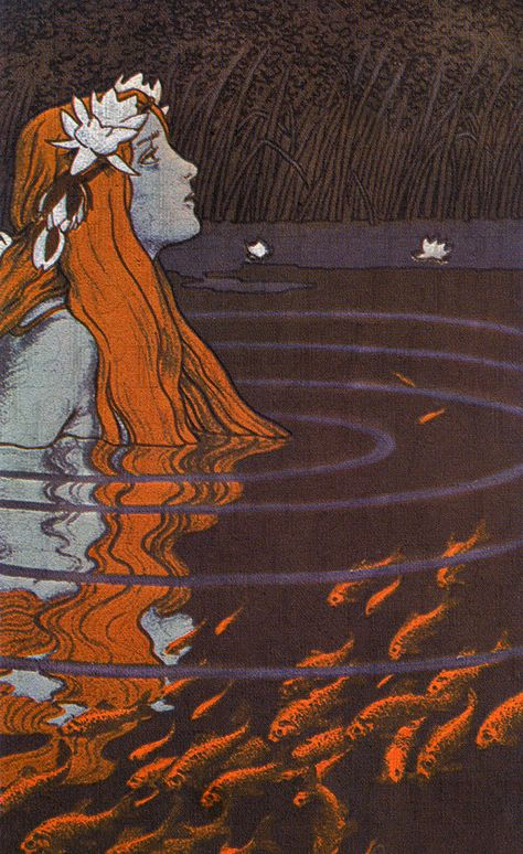 """Mermaid in a Pool with Goldfish"" Franz Hein, 1904 - color lithograph. ""But a mermaid has no tears, therefore she suffers so much more"" The Little Mermaid by Hans Christian Andersen Art Magique, Mermaid Art, Vintage Mermaid, Mermaid Paintings, Tattoo Mermaid, Mermaid Mermaid, Mermaid Princess, Water Nymphs, Arte Sketchbook"