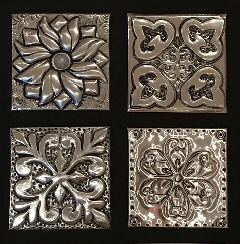Metal Embossing Made EASY online course - Metal Art Tin Foil Art, Aluminum Foil Art, Aluminum Can Crafts, Metal Crafts, Tin Can Art, Tin Art, Metal Embossing, Metal Stamping, Embossing Folder