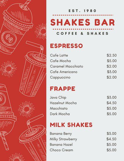Red And White Cups Illustration Drinks Menu Menu Card Design Coffee Menu Design Menu Design Layout