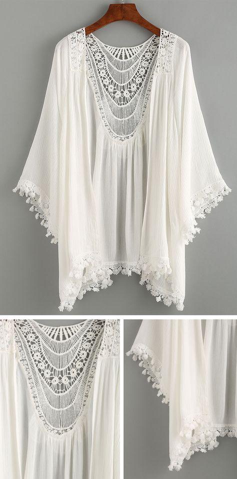 Summer Beach Style - Lace Trimmed Crochet Insert Kimono - White