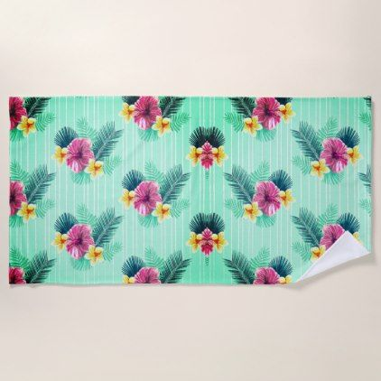 Green Base With Pink And Blue Floral Birdy Texture Beach Towel
