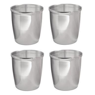 Mdesign Small Metal Round Trash Can Wastebasket Garbage Bin