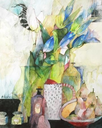 Shirley Trevena Still Life With Blue Paper Flowers Akvarelnye