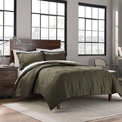 Garment Washed Solid Twin Twin Xl Comforter Set In Army Green