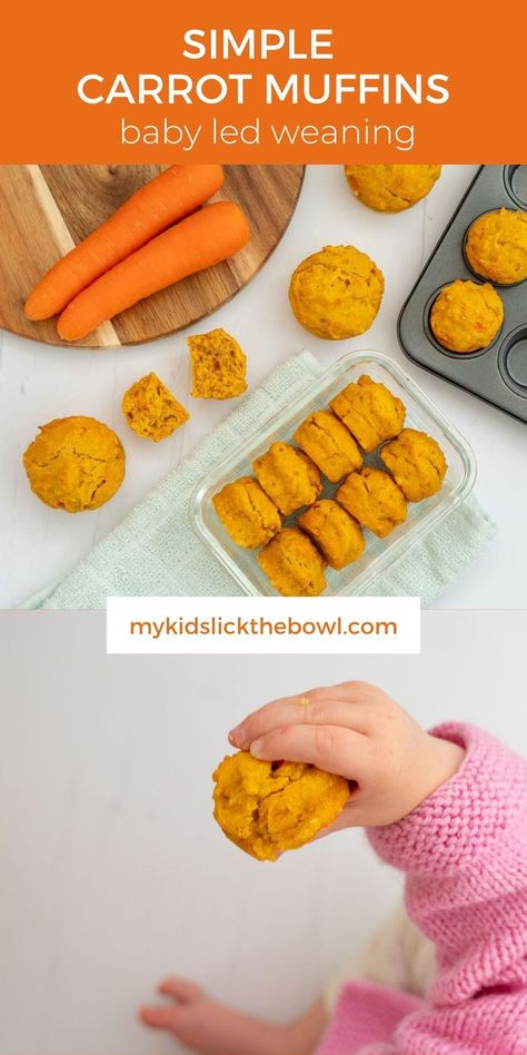 Carrot muffins for kids an easy healthy recipe with no added sugar also perfect for baby led weaning #muffins #babyledweaning #babymuffins #blwideas