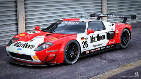 Marlboro Ford Gt R By Dangeruss Deviantart Com On Deviantart Ford Gt Ford Racing Car Ford