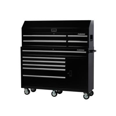 Husky 61 In W 10 Drawer 1 Door Combination Tool Chest And Rolling Cabinet Set In Gloss Black H61ch4tr6p Tool Storage Drawers Tools