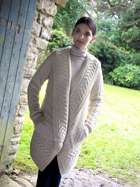 100% Merino Wool, Made in Ireland, Super Soft and cosy to wear. Has beautiful side pockets to allow for every day wear. A variety of stitches can be seen throughout the cardigan.