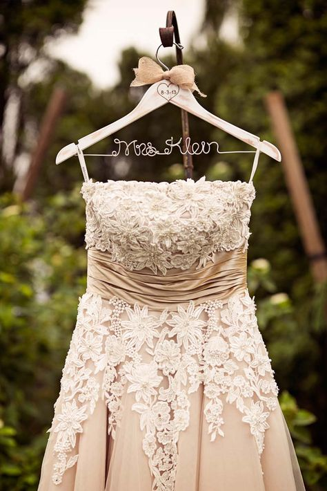 strapless ivory and champagne tea length wedding gown