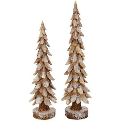 The Holiday Aisle 2 Piece Snowy Tree Set Farmhouse Christmas Tree Farmhouse Christmas Decor Christmas Tabletop Decor