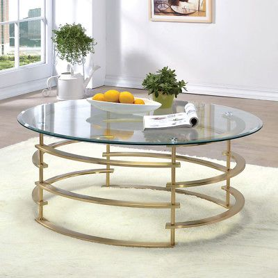 Clonmel Living Room Oval Glass Cocktail Coffee Table Spiraling