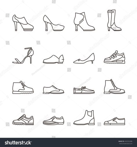 Shoes line vector icons. Sneakers and women shoes, footwear