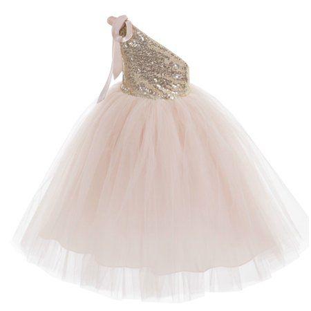 One-Shoulder Sequins Tutu Flower Girl Dress Tutu Dresses Princess Dress Pageant