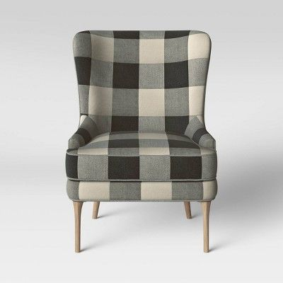 Cheswold Wingback Chairs Checks Black White Threshold Plaid