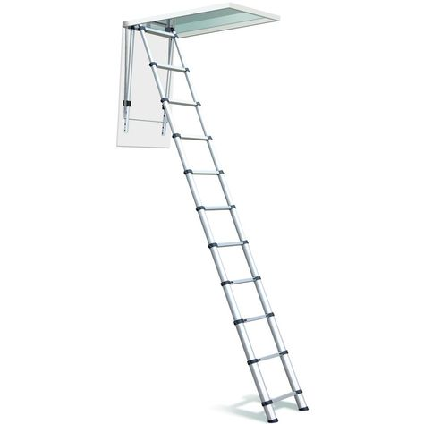 Telesteps 10 Ft Aluminum Telescoping Osha Compliant Ceiling Heights Attic Or Loft Extension Ladder 1000l In 2020 Loft Ladder Ceiling Height Telesteps