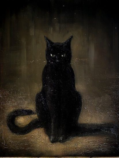 Pin By Felipe J R On Lovecraft Mythos Black Cat Painting Evil Cat Black Cat Art