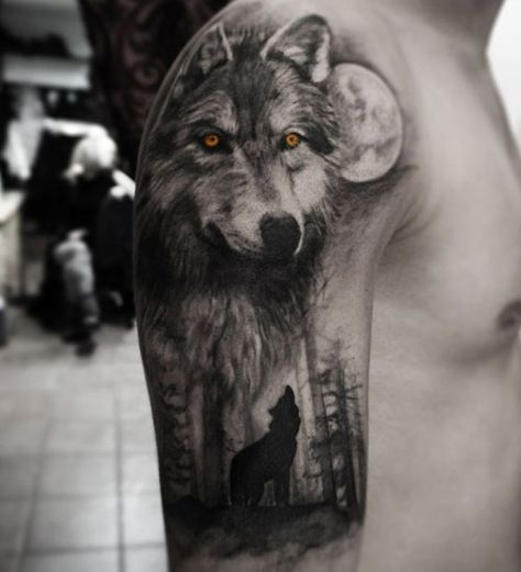 Wolf Half Sleeve Tattoo - Best Wolf Tattoos For Men: Cool Wolf Tattoo Designs and Ideas For Guys - Howling, Snarling, Angry, Alpha, Wolf Pack