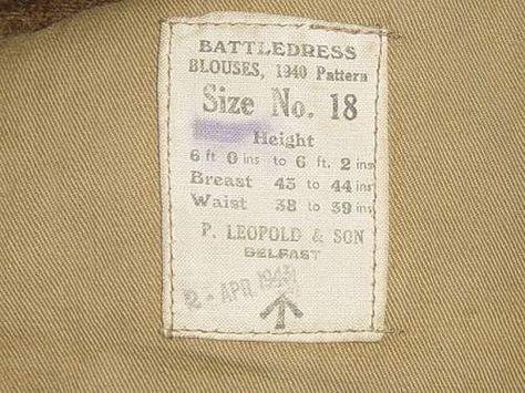 British army jacket label.