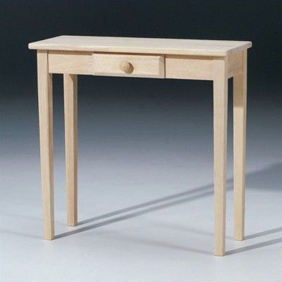 Wood Unfinished Hall Console Table With Drawer In Brown Pemberly