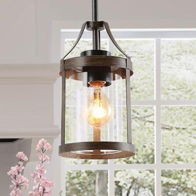 Lnc Maven Dark Brown Farmhouse Geometric Led Mini Kitchen Island Light Lowes Com Rustic Pendant Lighting Wooden Pendant Lighting Pendant Light Fixtures