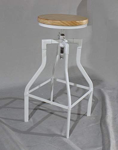 Lokkhan White Industrial Bar Stool Modern Bar Stool Vintage Adjustable Swivel Round Wood Metal Stool Kitch Modern Bar Stools Wood Metal Stool Metal Stool
