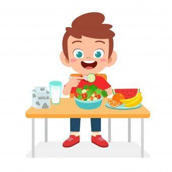 Niños Comiendo Comida Vector Premium Niños Felices Niños Saludables Niños Lindos