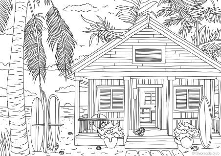 Beach House | Beach coloring pages, Printable adult coloring pages ...