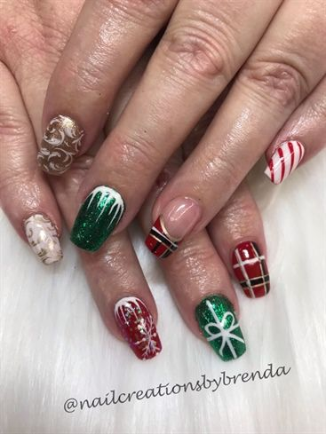 Acrylic Nails With Gel Polish Glitter Stamping And Hand Painted Christmas Nail Designs Christmas Holiday Nail Art Christmas Nails