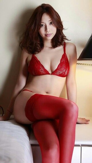 Asian girl in red stockings