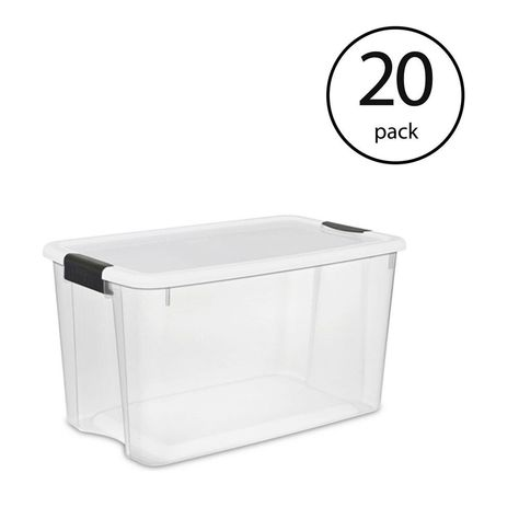 Sterilite 116 Qt Ultra Latching Storage Bin Box Container In Clear 20 Pack 20 X 19909804 In 2020 Storing Blankets Plastic Storage Totes Plastic Box Storage