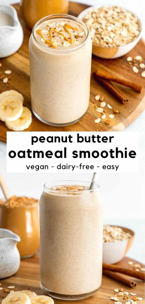 This peanut butter oatmeal smoothie recipe is a healthy breakfast for weight loss and busy mornings! It's creamy, easy to make, packed with fiber, and tastes like dessert. Combine pantry staples, like oats and banana, to create this breakfast smoothie in just 5 minutes. It's vegan, gluten-free, dairy-free, and great for kids! #smoothie #smoothierecipe #oatmeal #oats #veganbreakfast #smoothierecipeshealthy #smoothierecipesweightloss #smoothiediet #healthybreakfast #peanutbutter