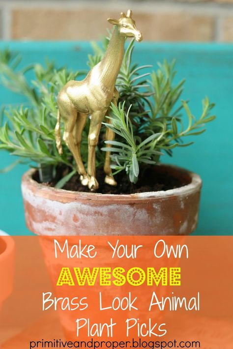 how to make brass look animal plant picks- fun and quirky addition to house or porch plants!