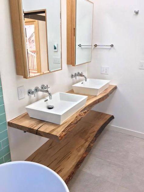 Live Edge Bathroom Counter Live Edge Bathroom Vanity Wood Etsy Wood Countertops Kitchen Live Edge Shelves Wood Bathroom