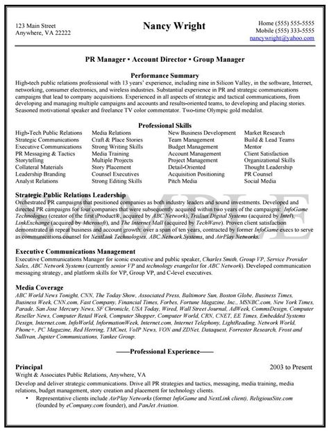 Public Relations Resume Sample resume examples Pinterest - public relations resume examples