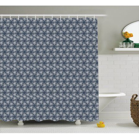 Japanese Shower Curtain Hexagons Triangles With Spring Flowers Eastern Geometric Tile Fabri Geometric Shower Curtain Bathroom Decor Sets Shower Curtain Sizes