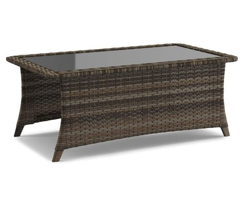 all weather wicker glass coffee table