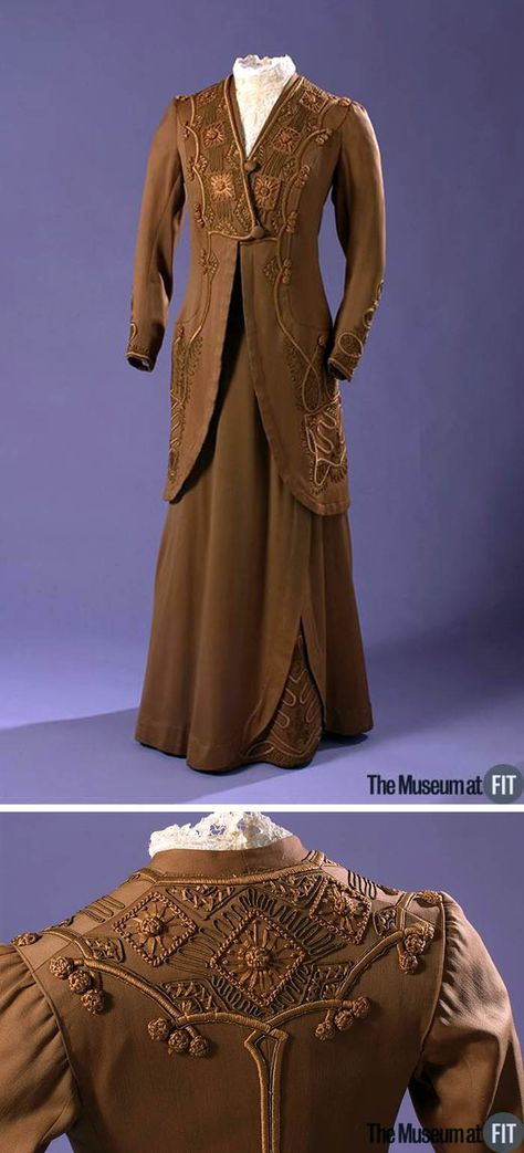 Suit, American, circa 1913. Brown cotton sateen, cotton floss, soutache cord, and tape. Via Museum of the Fashion Institute of Technology.