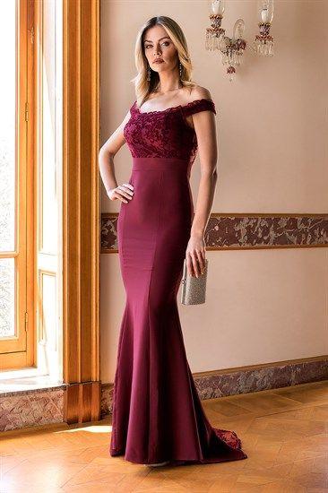 Kuyruk Transparan Balik Elbise Bordo Resmi Elbise The Dress Elbise