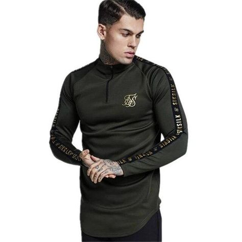 Sik Silk Spain Shirts Men SikSilk Long Sleeve T Shirt Men Autumn Sweatshirts Hip Hop Streetwear Sik Tshirt Silk Silk Sweatshirt - black / M