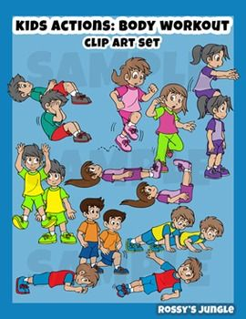 Kids Clip Art Body Workout Exercise Warming Up Or Calisthenics Kids Clipart Fitness Body Clip Art