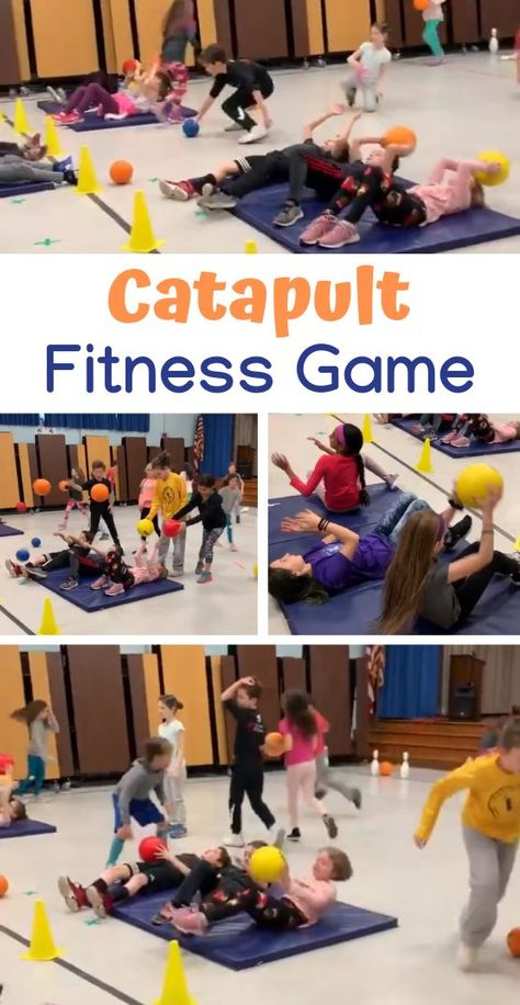 Thanks to PE teacher Lindsay Karp for sharing this Catapult game from her Health  Wellness Week! This activity allows students to learn various fitness components. #physed