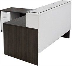 71 W Emerge Glass Top L Shaped Reception Desk W Drawers