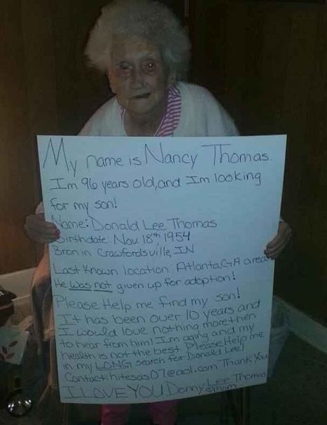 Looking for her son. Please help her