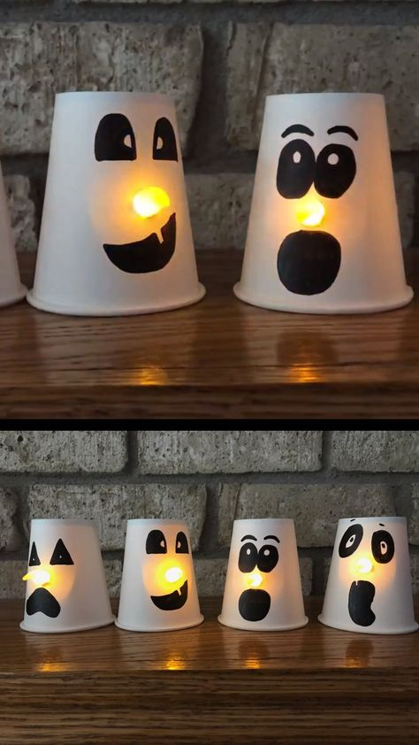 An easy Halloween craft for preschoolers and older kids. Make paper cup ghosts with glowing nose in the dark #ghostcraft #papercupcraft #Halloween #Halloweencraft #ghost #preschoolercraft #craftsforkids #decor diy videos party Paper cup ghost craft for kids
