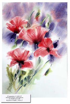 Aquarellzauber Blumen Mohnblume Aquarell