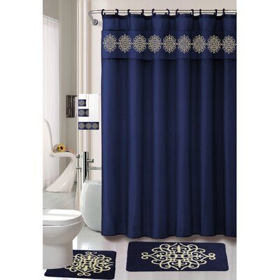 Astoria Grand Preusser 18 Piece Bath Set Hooks Colour Navy Blue